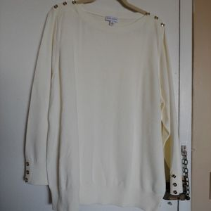 SUSAN GRAVER CREAM SWEATER WITH GOLD BUTTONS NWOT